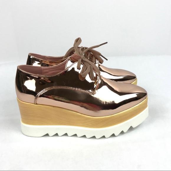 fc38c9ff50d Shiny Metallic Rose Gold Platform Wedge Sneakers